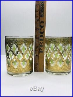 Vintage Culver Glass Valencia Decanter 2 Rocks Cocktail Glasses Green Gold