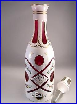 Vintage Czech Bohemian Art Glass White Cut To Cranberry Clear Decanter Gilded