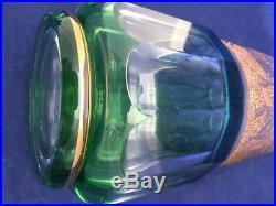 Vintage Czech Bohemian Moser Emerald Green Glass Gold Gilt Decanter