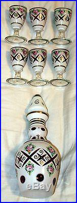 Vintage Czech Bohemian White Cased Cut to Cranberry Decanter and 6 Glasses Used