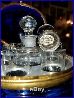 Vintage Czechoslovakia coralene cobalt cordial, absinthe set