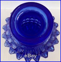 Vintage Decanter Cobalt Blue Textured Glass Empoli Genie Bottle Diamond Point
