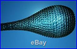 Vintage Deep Teal Blue Italian Art Glass Diamond Pattern Genie Bottle Decanter