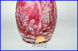 Vintage E. B. Lattorff Lead Crystal Pink Cranberry Color Wine Decanter Vase 11
