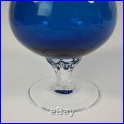 Vintage EMPOLI Italian Art Glass Cobalt Blue Wine Decanter Set Mid Century MCM