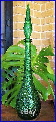 Vintage Emerald Green Italian Art Glass Bubble Pattern Genie Bottle Decanter