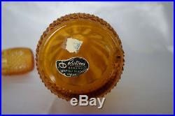 Vintage Empoli Art Glass Amber Diamond Point 20.5 Genie Bottle Decanter
