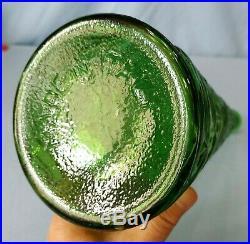 Vintage Empoli Decanter Green Textured Glass Genie Bottle 22 Inch