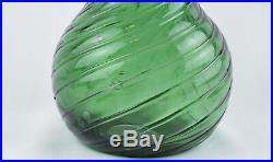 Vintage Empoli Italian Art Glass Green 22.5 Three Barrel Genie Bottle Decanter