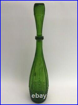 Vintage Empoli Italian Large Green Decanter Genie Bottle with Stopper 60's MCM