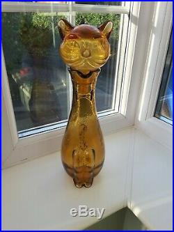 Vintage Empoli/Italian amber Cat Shaped Art Glass Decanter / Bottle C1960's
