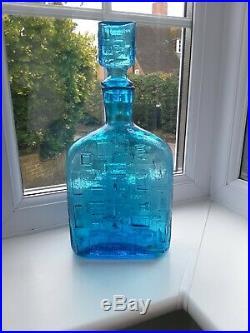 Vintage Empoli Italian blue art glass geometric pattern decanter /genie bottle