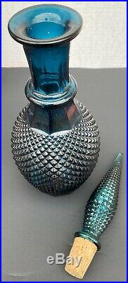 Vintage Empoli Italy Glass Decanter Dark Green Diamond With Stopper MCM NICE