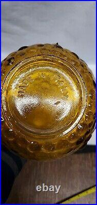 Vintage Empoli Rossini Italian Glass Decanter Amber Genie Bottle Mid Century