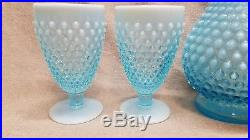 Vintage Fenton Blue Decanter + 4 Glasses Hobnail Opalescent Set