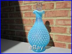 Vintage Fenton Hobnail Blue Opalescent Glass Large Decanter w Stopper 12 5/8