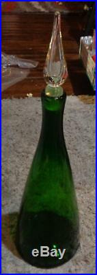 Vintage Forest Green 920L Decanter Clear stopper Winslow Anderson Label attached