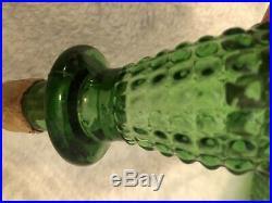 Vintage GREEN Diamond Pattern MCM Empoli Italian Genie Bottle Decanter 22