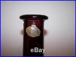 Vintage GUILDCRAFT Italy AMETHYST PURPLE DIAMOND Glass Genie Bottle DECANTER 25