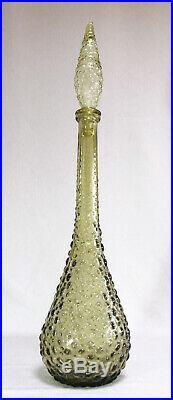 Vintage Genie Bottle Olive Green Hobnail Bubble Art Glass Tall Italian Decanter