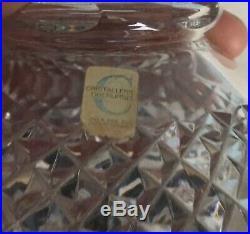 Vintage German Crystal Cut Glass Decanter Cristallerie Oberursel Silver Collar