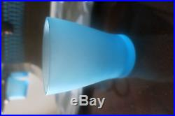 Vintage Glass Hand Painted Gold Tone Light Blue Floral Punch Dispenser Set