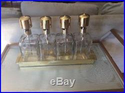 Vintage Glass Liquor Decanter Set of 4 on Brass. Tray