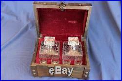 Vintage Glass Liquor Decanters & Glasses Wood Chest Bar Set
