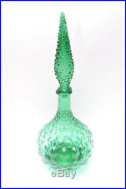 Vintage Green Empoli Genie Bottle Decanter Green Italian Art Glass Green Bubble