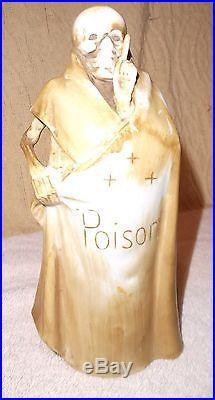 Vintage Grim Reaper Skeleton Poison Bottle Decanter w 4 Skull Shot Glasses Mugs