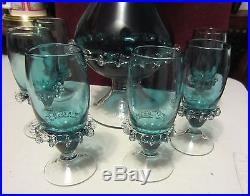 Vintage Hand Blown Aqua Blue Decanter Set Unique Glass Accents Gorgeous