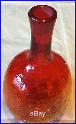 Vintage Hand Blown Blenko 16 Amberina Crackle Glass Decanter Orange Red Yellow
