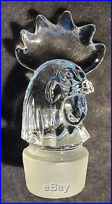 Vintage Heisey Decanter 16 Tall Rooster Martini Shaker Strainer Double Stopper