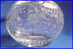 Vintage Heisey Glass Co. 8 1/4 Decanter Orchid Pattern with Silver Overlay Stopper
