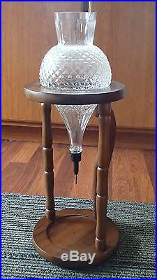 Vintage Hellerware Glass Wine Aerator / Decanter With Wood Stand