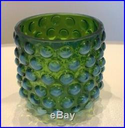 Vintage Hobnail Green Opalescent Tumble-Up Bedside Carafe Bottle