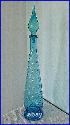 Vintage Ice Blue Tall Glass Genie / Chemists Bottle 60s Italian Decanter 64cm