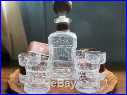 Vintage Italian 9 Piece Leather And Clear Crackle Glass Liquor Decanter Set