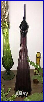 Vintage Italian Amethyst/Purple Genie Bottle/ Decanter Empoli Art Glass