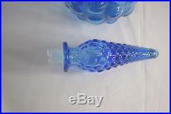 Vintage Italian Art Glass Beautiful 19 Blue Hobnail Genie Bottle Decanter