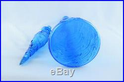 Vintage Italian Art Glass Blue Wave Design 22.5 Genie Bottle Decanter Empoli