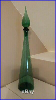 Vintage Italian Green Genie Bottle/ Decanter. Empoli Art Glass