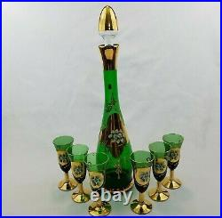 Vintage Italian MCM Green Gold Gilded Decanter with 6 Sherry Cordial Glasses