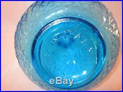 Vintage Italy Decanter Diamond Point Empoli Blue