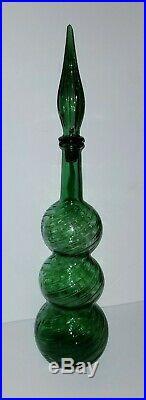 Vintage Italy Italian Empoli Glass Green 22 Ribbed Gurgle Decanter Mid century