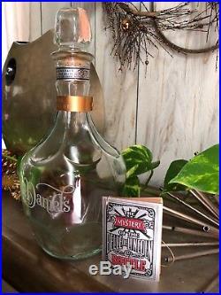 Vintage Jack Daniels Bottle Belle Of Lincoln Etched Glass Whiskey Bar Decanter