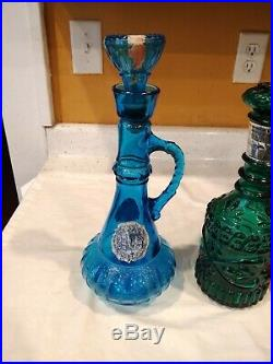 Vintage Jim Bean Decanter Bottles Empty Glasses Bar Set of 3 Blue Red Green