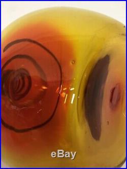 Vintage Joel Myers Blenko Amberina Tangerine Coil Glass Decanter Ball Stopper