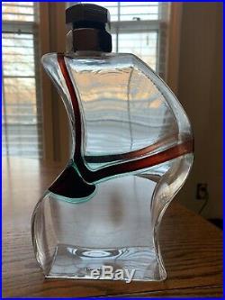 Vintage Kosta Boda Kjell Engman Art Glass Macho Decanter Clear, 3 Bottle Set
