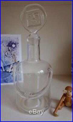 Vintage Kosta Boda People Art Glass Vase Decanter/ Design By Erik Hoglund
